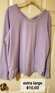 Lavendar cross back sweater